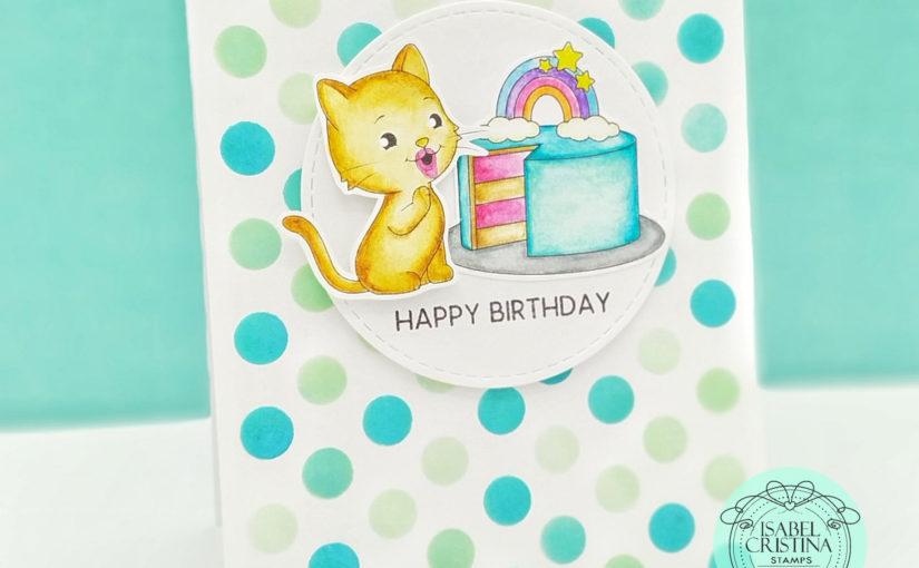 Tarjeta de cumpleaños gatito | Isabel Cristina Stamps